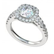 Platinum Diamond Engagement Ring with Diamond Accents in a Halo shape
