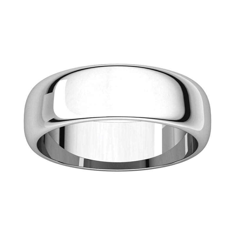 6mm Half Round Platinum Wedding Band