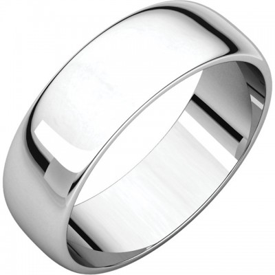 Platinum 6mm Half Round wedding Bands - light weight