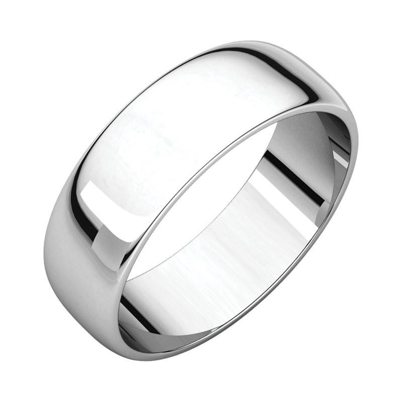 Platinum 6mm Half Round Wedding Bands