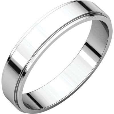 4mm Flat Edge Platinum wedding bands