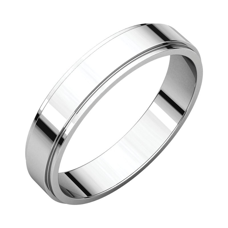4mm flat edge platinum wedding bands - Flat Wedding Rings