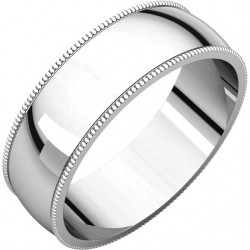 6mm Light Milgrain Platinum wedding bands