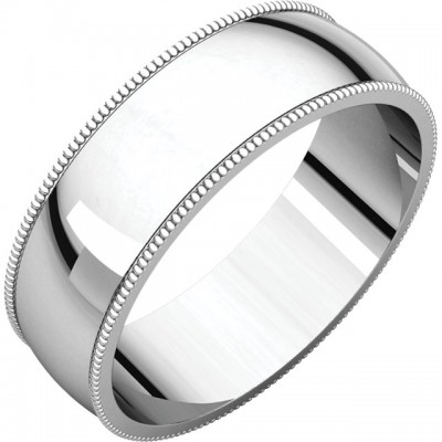 6mm Light Milgrain Platinum wedding bands