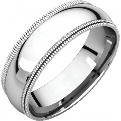Platinum 6mm Double Milgrain wedding bands
