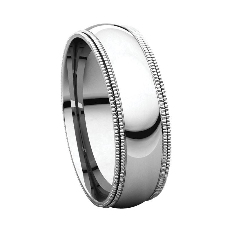 Milgrain Men S Wedding Ring In Platinum 6mm: Platinum 6mm Double Milgrain Wedding Bands