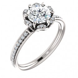 Platinum Round Floral Inspired Engagement Ring PWR_121997ST_Plat