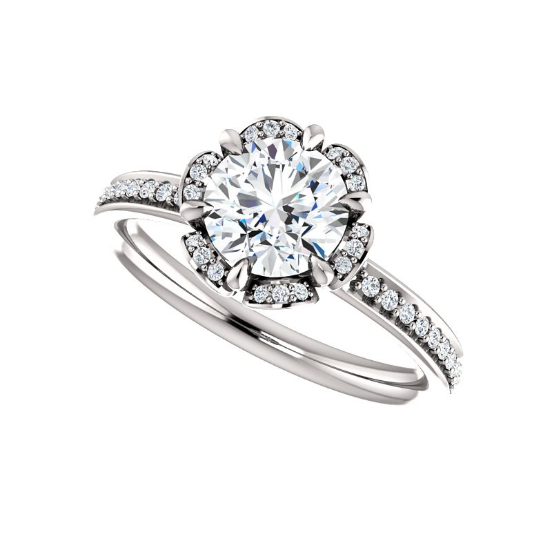 platinum floral inspired engagement ring pwr