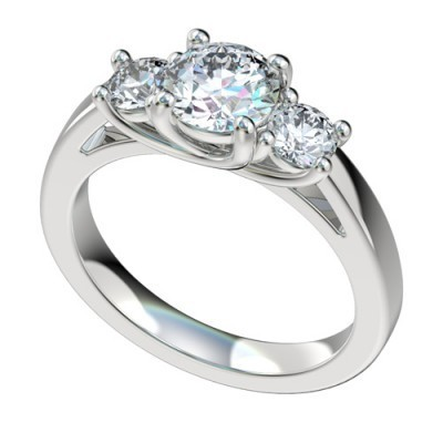 Three Stone Platinum Diamond Engagement Ring PWRR1025HC
