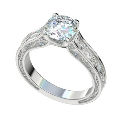 Platinum Vintage Solitaire Trellis Engagement Ring with Vine Design PWRR1048HC