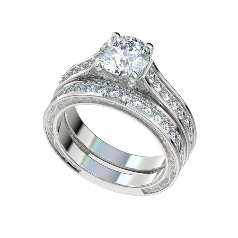 Platinum Vintage Solitaire Trellis Engagement Ring w Vine Design an
