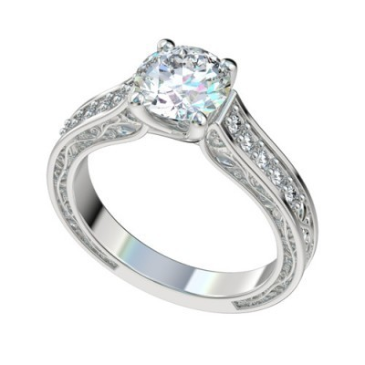Platinum Vintage Solitaire Trellis Engagement Ring w Vine Design and Diamonds PWRR1050HC