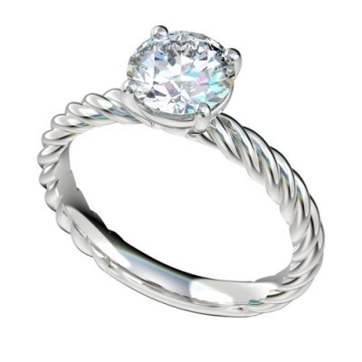 Platinum Diamond Solitaire Rope Engagement Rings PWRR1089HC