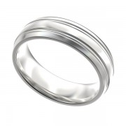 Double Banded Men's Platinum Wedding Band 6mm PWRM1000W6HC