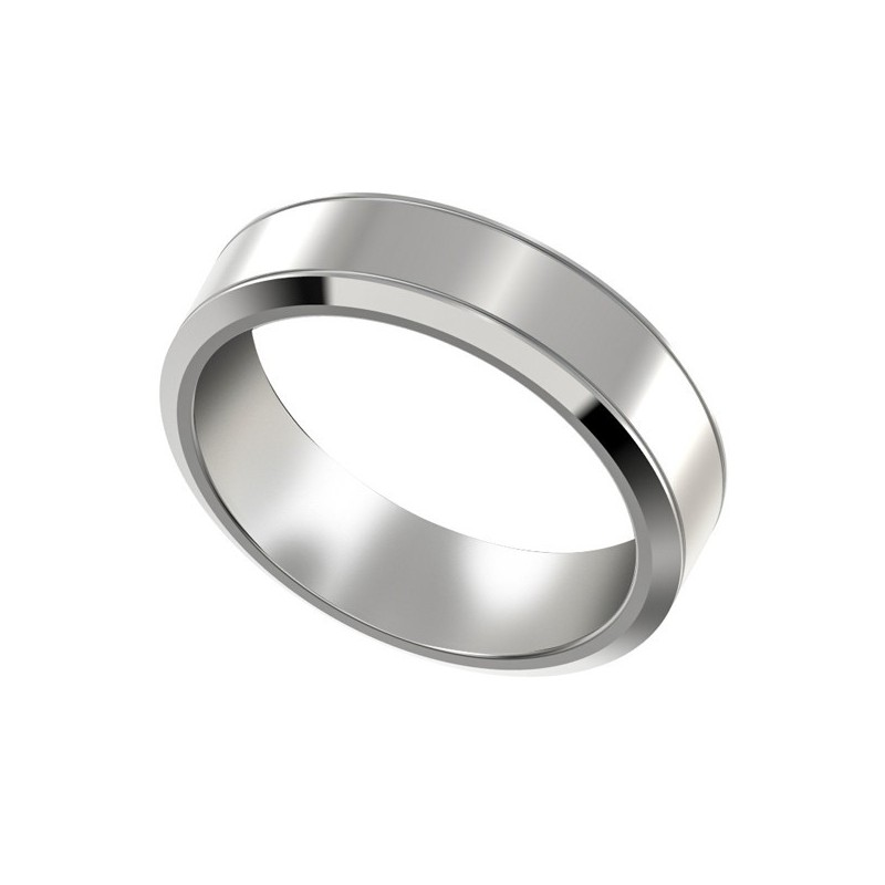 Mens Platinum Wedding Band With Beveled Edges 6mm PWRM1008W6HC