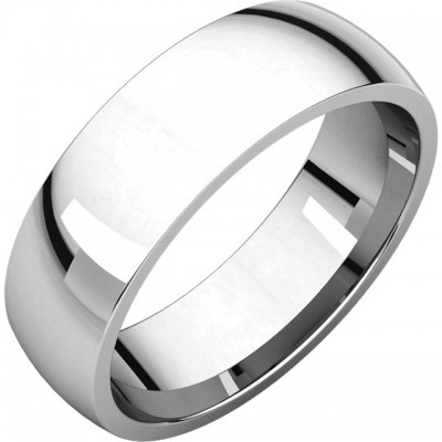 6mm half round Platinum wedding band
