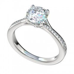 Platinum Split Bypass Engagement Ring with Bead Bright Setting PWRR1094HC