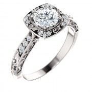 Sculptural Halo Platinum Engagement Ring PWR_121981ST_Plat