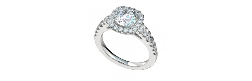Halo style Platinum Engagement rings